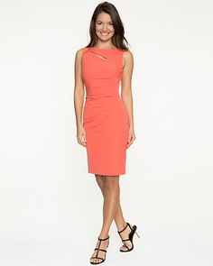 This stretch double weave dress features a sleek cut-out at the neckline. #coral #madeincanada