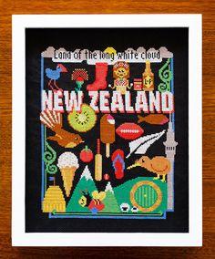 New Zealand Cross Stitch Pattern - Kiwiana - Digital PDF Pattern Pdf Patterns, Cross Stitch Patterns, Kiwiana, Cute Cross Stitch, Extra Fabric, Back Stitch, Cross Stitching, Embroidery Stitches, Paper Crafts