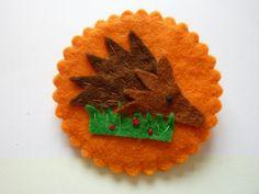 SEPTEMBER 2012 - Autumn / Harvest - Hedgehog Felt Cameo Brooch, by Jumbleberries, £6
