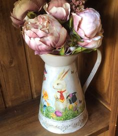 Galvanized metal pitcher jug hand painted with White  Rabbit decoupage  decorative vase home decor perfect gift