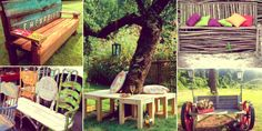 Draw inspiration and materialize one two garden bench projects, add a hammock or a swing near a water pond. Create everything in reality everything you find in your dreams and nestle important elements in your greenery. Outdoor Beds, Outdoor Living, Outdoor Furniture Sets, Outdoor Decor, Outside Seating, Shabby Chic Garden, Garden Bridge, Country Decor
