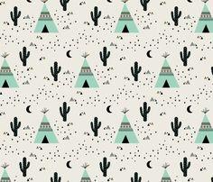 Teepee  Mint fabric by kimsa on Spoonflower - custom fabric