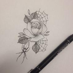 Rose & Spider Tattoo by Medusa Lou Tattoo Artist - medusaloux@outlook.com