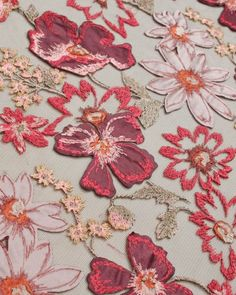Embellished Tulle Fabric | Brown Floral | Truro Fabrics