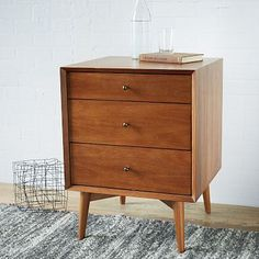 """Mid Century Media Bases #westelm $399 20.5""""w x 19""""d x 26.75""""h. •Made from FSC®-certified wood. Learn more about FSC®. •Solid eucalyptus wood base; acacia wood veneer drawers/door. •Acorn-stained finish. •Antique bronze hardware."""