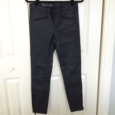 Madewell wax coated skinny jeans Excellent condition, hardly worn black coated skinny jeans by Madewell. Fit true to size and very flattering. Madewell Jeans Skinny