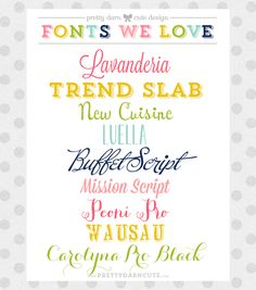 A Few of My Favorite Pretty Fonts