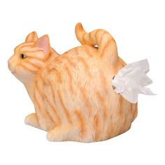 Tabby Cat Tissue Holder  This tabby cat is just trying to help out by keeping your tissue close at hand! You'll have no trouble finding it, whether in the bathroom, bedroom or den. Standard square tissue box fits inside. Resin.  www.whatonearth.com