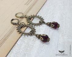 Neo Victorian Cog Earrings, Garnet Red Steampunk Earrings, Bronze Gears Ear Rings, Steam Punk Jewellery, Handmade UK