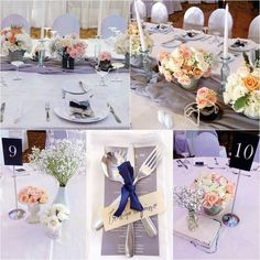 Peach and midnight blue color palette Tablescapes, Wedding Reception, Table Decorations, Home Decor, Marriage Reception, Decoration Home, Room Decor, Table Scapes, Wedding Receiving Line