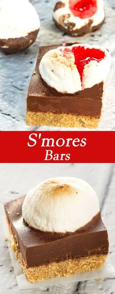 S'mores Bars.  The perfect treat for all occasions Shortbread base, chocolate layer,  topped with strawberry-jelly  marshmallow. Super easy-to-make, and no baking (English version included).     http://www.winnish.net/2015/12/7841/