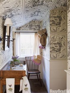 Scheerer used an American bird toile from Schumacher to help camouflage the odd angles of a pantry turned powder room in East Hampton, New York. Trim matches our dining room. Best Bathroom Designs, Bathroom Ideas, Small Bathroom, Bathroom Organization, Attic Bathroom, Cozy Bathroom, Tiled Bathrooms, Scandinavian Bathroom, Bathroom Storage