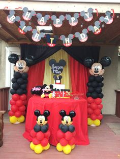 Birthday Themes and Birthday Decorations Mickey Mouse Birthday Decorations, Theme Mickey, Mickey Mouse Balloons, Fiesta Mickey Mouse, Mickey Mouse Parties, Disney Parties, Mickey Mouse Backdrop, Mickey Mouse Table, Mickey Mouse Centerpiece