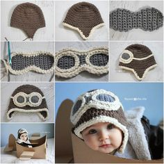 Crochet DIY Aviator Hat hat diy crochet diy crafts do it yourself kids hat