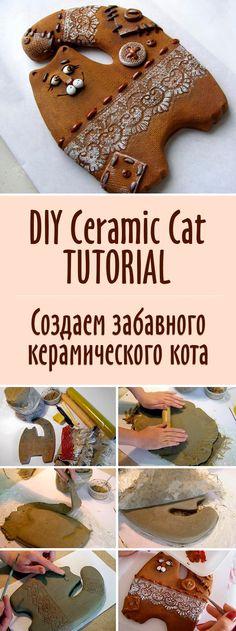 DIY Ceramic Cat TUTORIAL   Создаем забавного керамического кота