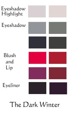 Your colour analyzed cosmetic colour for the most natural, believable lip colour is mulberry, so a browned purple, in the lower right position of the lip/blush foursome.  Strong cool dark coral-pink is a brighter option.  Eyeliners shown at the bottom are charcoal, blackened mulberry, and one could certainly use a black-brown too. MAC Photogravure or Clinique Black-Brown. MAC Grey Utility is a good smoky gray.