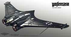 Eating Dog Food and Killing Nazis: A Wolfenstein Megathread Spaceship Concept, Concept Ships, Concept Art, Spaceship Art, Horten Ho 229, Luftwaffe, Me262, Flying Wing, Flying Vehicles