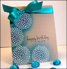 Emboss white then ink turquoise kraft card