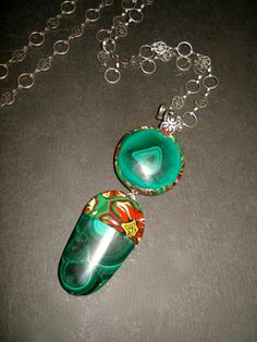 Malachite two tear pendant with Polymer Bezel by BeadedPins, $45.00