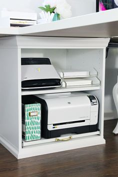 IHeart Organizing: IKEA STUVA Printer Cart Hack - with pull-out compartment for printer .IHeart Organizing: IKEA STUVA Printer Cart Hack - with pull-out compartment for printer . pull-out printer iheart organizing Conference chairs & Office Nook, Home Office Space, Home Office Design, Home Office Decor, Office Furniture, Office Designs, Corner Office, Ikea Corner Desk, Small Corner Desk