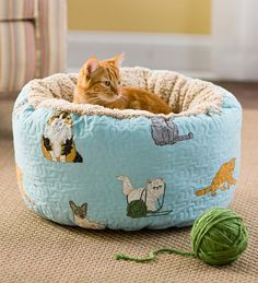 You and your cat will love this whimsical Kitten Caboodle Cat Bed Pouf!