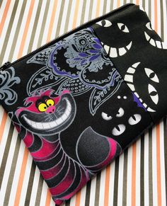 Cheshire Cat Zipper Pouch: Alice in Wonderland, Trick or Treat, Cheshire Cat Grin, Halloween.