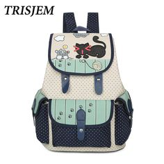 11c8f849a0a2 2017 women vintage cute cat printing cartoon canvas teen backpack animal  string school bags for teenager