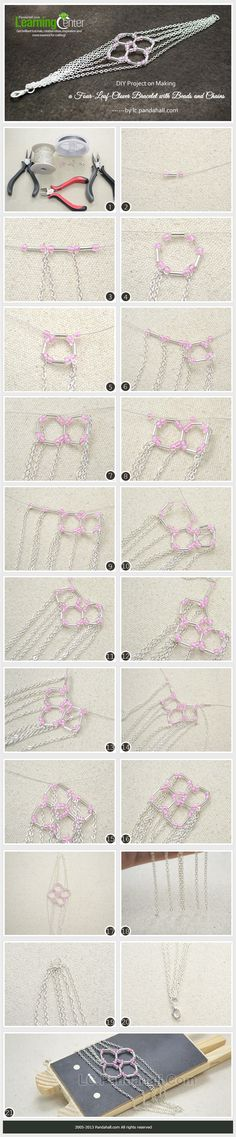 DIY Project on Making a Four-Leaf-Clover Bracelet with Beads and Chains