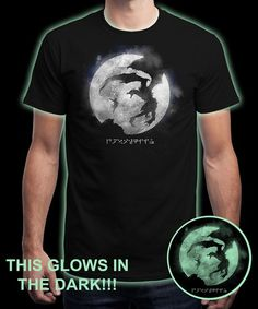 """""""Moon Dovahkiin (Glow in the dark)"""" is today's £8/€10/$12 tee for 24 hours only on www.Qwertee.com Pin this for a chance to win a FREE TEE this weekend. Follow us on pinterest.com/qwertee for a second! Thanks:)"""