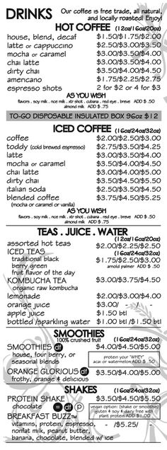 du0027lish drive thru - healthy on-the-go kitchen \ coffee house - coffee menu