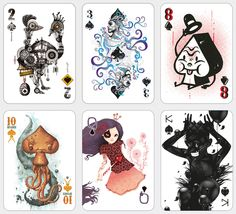 52 Aces limited edition playing cards - each one designed by a different artist. Aces And Eights, Ace Card, Art Carte, Artist Card, Blooms Taxonomy, Illustrations, Deck Of Cards, Magazine Art, Teaching Art