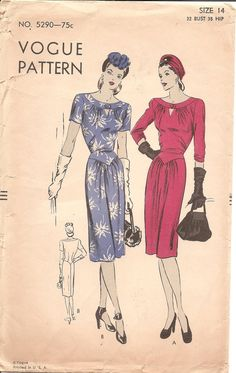 1940s Womens Dress with Keyhole Neck