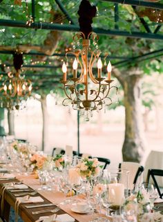 Romantic Arbor Wedding Reception hung with Vintage Chandeliers | Lisa Lefkowitz Photography | See More! http://heyweddinglady.com/peach-and-patina-end-of-summer-garden-wedding/