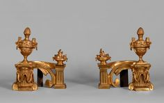 Antique pair of small gilt bronze andirons, Louis XVI style, decorated with fire pots and covered vases (Reference - Available at Galerie Marc Maison Fire Pots, Architectural Antiques, Louis Xvi, Urn, French Antiques, Making Out, Vases, 19th Century, Bronze