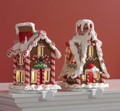 Lighted Gingerbread House Stocking holders from the 2013 RAZ Chocolate Moose Collection Christmas Moose, Christmas Gingerbread House, Whimsical Christmas, Christmas Candy, Christmas Stockings, Gingerbread Houses, Christmas Crafts, Christmas Trees, Xmas
