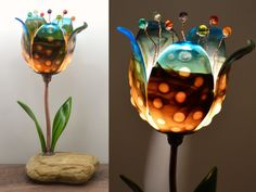 Glass Flower Lamp / Fused Glass Table Lamp / Stained Glass Lamp / Accent Lamp / Art Glass Tulip - Brown, Cream and Turquoise Blue