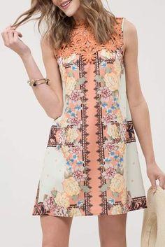 196a3082227 Blu Pepper Lace Yoke Printed Shift Dress Blu Pepper