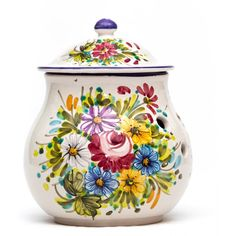 Ceramic can or tin with special holes for best conservation of onion, kitchen use. Fioraccio Abruzzo wild flowers decoration, Italian colorful handmade ceramic pottery.