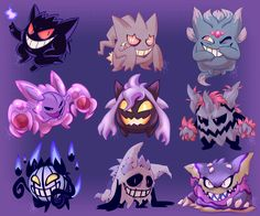 ✨  ~ Gengar Crossbreeds! ~  ✨ I love this purple smiling joker a lot so I wanted see them fused with the other Pokemon in their egg group. If these were real you can bet that my entire team would...