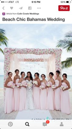 Bridesmaid Gowns Bridesmaids gather around the bride wearing matching light pink gowns. Beach Wedding Bridesmaids, Boho Wedding, Dream Wedding, Wedding Dresses, Light Pink Bridesmaid Dresses, Pink Bridesmaids, Beach Wedding Attire, Bridesmaid Gowns, Wedding Bells