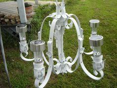 Solar lights in old Chandelier for garden