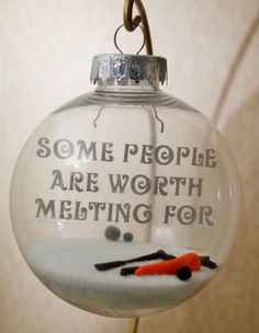 handmade Frozen Olaf shattered proof floating ornament for 2015 Christmas with silver vinyl lettering - some people are worth melting for