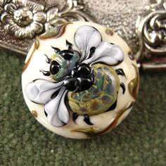 Kerribeads+Lampwork+Ivory+Tapestry+Honeybee+Button+by+kerribeads,+$69.00