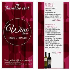 Ponuda vina u Paradiso Clubu