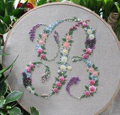 embroidery, initial, flowers