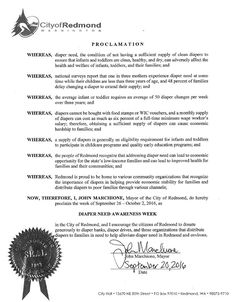 REDMOND, WA -Mayoral proclamation recognizing Diaper Need Awareness Week (Sep. 26-Oct. 2, 2016) #DiaperNeed Diaperneed.org