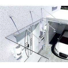 Bild: HOME DELUXE Glasvordach 200x90cm Vordach Haustür Glas Dach Edelstahl