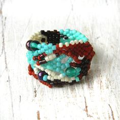 Colorful freeform peyote ring beaded ring OOAK by Anabel27shop