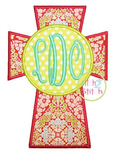 """Cross Monogram Applique Design For Machine Embroidery, shown with our """"Fancy Oval"""" Font NOT Included, INSTANT DOWNLOAD now available"""