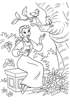 Belle Singing With Bird Coloring Pages